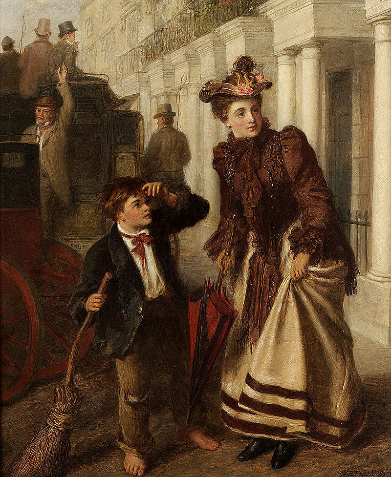 Crossing sweeper and Victorian woman