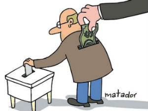 Man in suit shoving a dollar bill in voter's pocket.